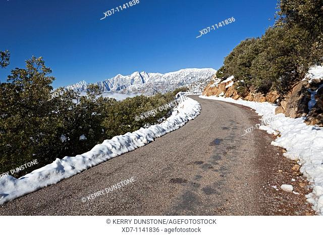 Morocco High Atlas Mountains Views of highway near the summit of Tizi-n-Test Pass