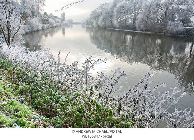 Scenic views on a frosty misty morning over the river Severn in Worcester, Worcestershire  England
