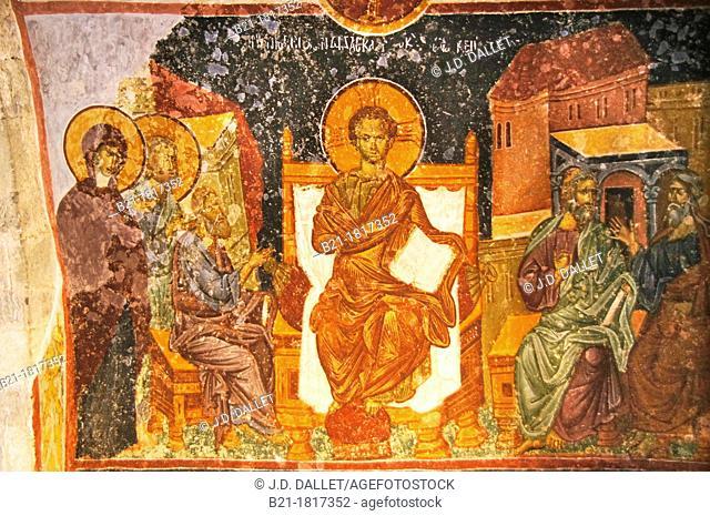 Wall painting of Christ teaching the elders in the Temple, Hagia Sophia (Church of Saint Sophia), Trabzon, Turkey