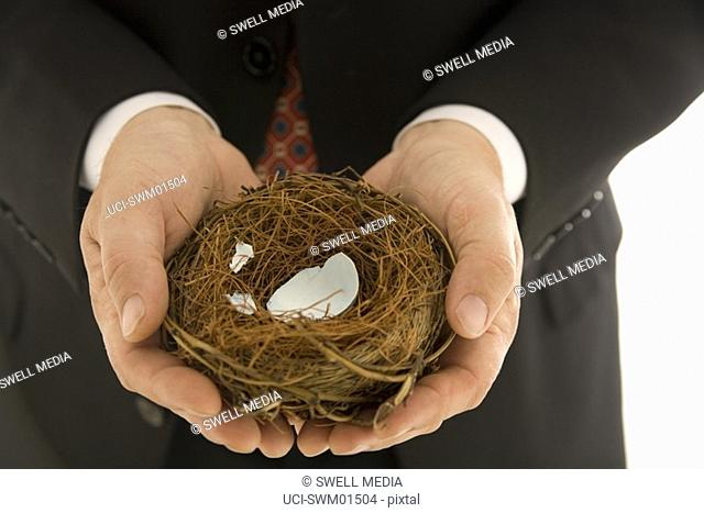 Man holding bird's nest with broken egg