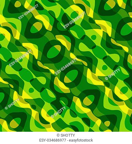 Unusual Abstract Wavy Green Art Pattern Background - Lines Blots Waves Surreal Illustration - Weird Creative Diagonal Fantasy Texture - Unique Ornamental Curves...