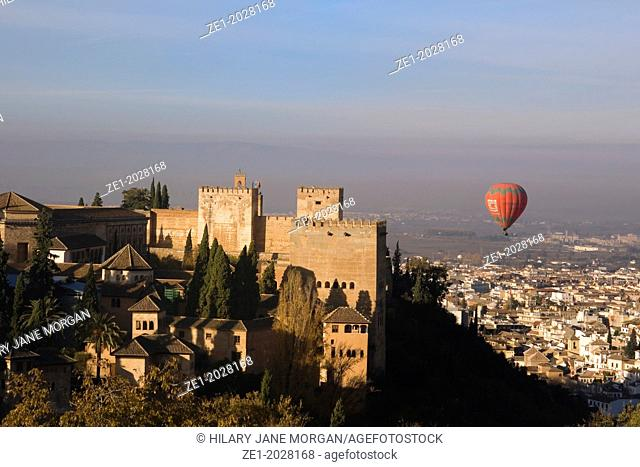 Granada, Andalucia, Spain. View over Granada and the Alhambra Palace