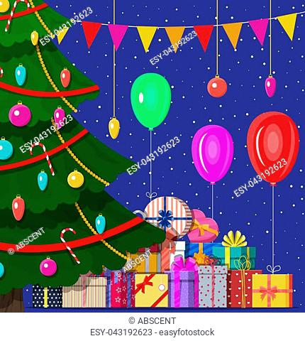 Christmas tree decorated with colorful balls, garland lights, golden star. Lots of gift boxes. Spruce, evergreen tree. Greeting card, festive poster