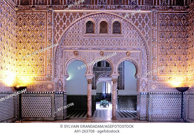 Almohad style rooms and courtyards of the Alcázar palace. Sevilla, Spain