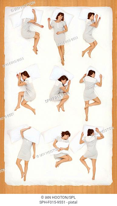 MODEL RELEASED. Collage of a woman in various sleeping positions
