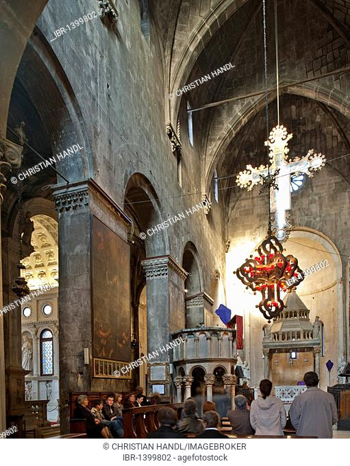 Interior of the Cathedral of St. Lawrence in Trogir, Croatia, Europe