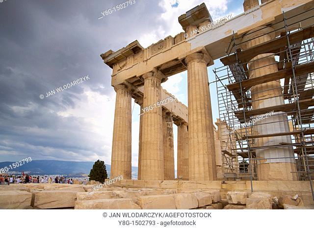 Restoration work at the Parthenon on the Acropoliss, Athens, Greece