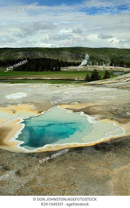 Heart Spring with distant Castle Geyser