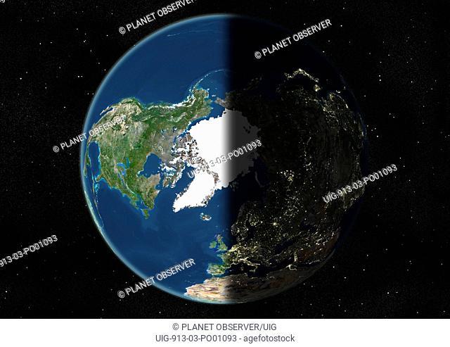 Globe Centred On The North Pole, True Colour Satellite Image. True colour satellite image of the Earth centred on the North Pole, at the equinox at 6 p