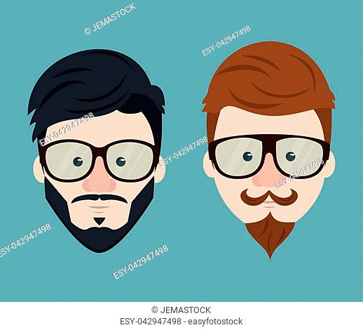 Hipster face collection icon vector illustration graphic design