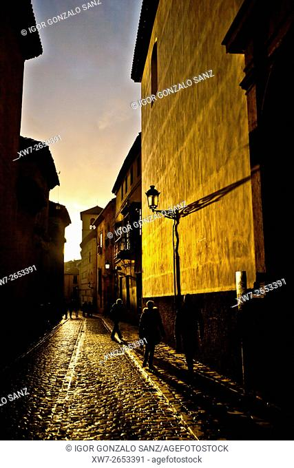 Sunset at the Granada's neighborhood of Albaicín (Granada, Spain, Europe, Andalusia)