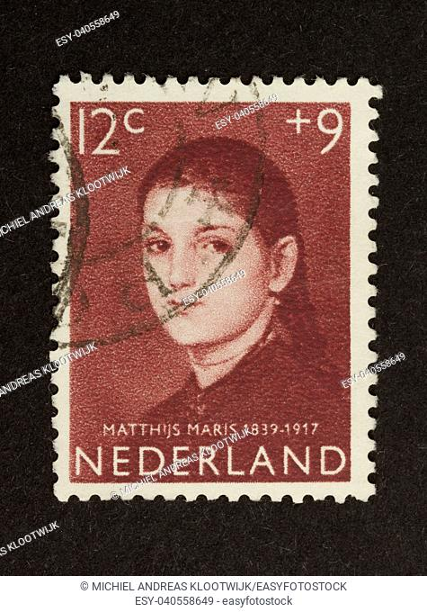 HOLLAND - CIRCA 1950: Stamp printed in the Netherlands shows a picture of Matthijs Maris, circa 1950