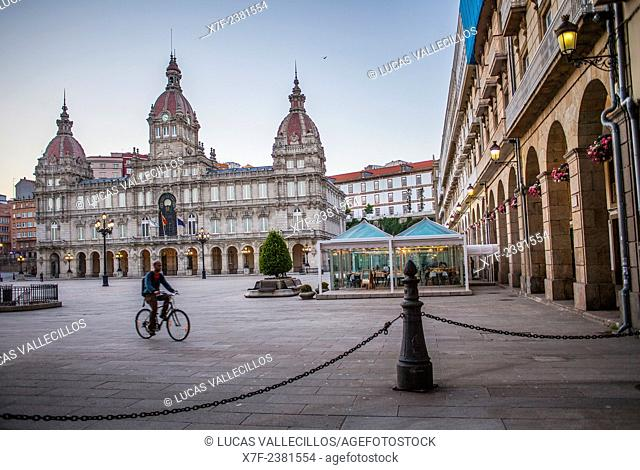 City hall, Plaza de Maria Pita, Coruña city, Galicia, Spain