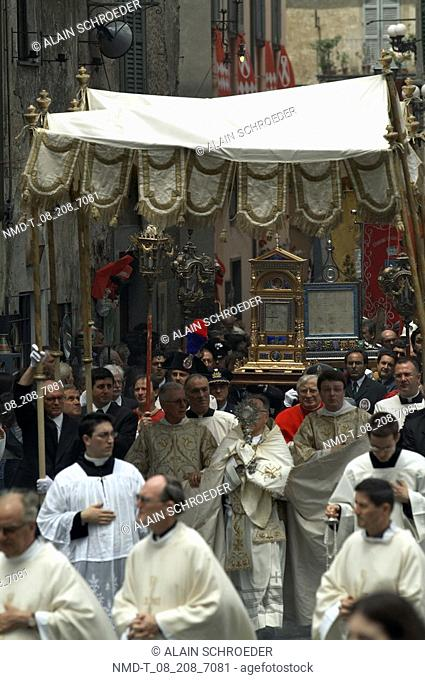 Group of people in a parade of religious celebration, Orvieto, Umbria, Italy