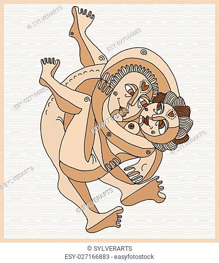 Vector hand drawn stripy illustration of heterosexual couple making love. Man embraces woman art image, relationship and love theme