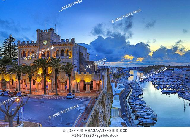 Spain balearic Islands, Menorca Island,Ciutadella City, City Hall Bldg. and Ciutadella Port