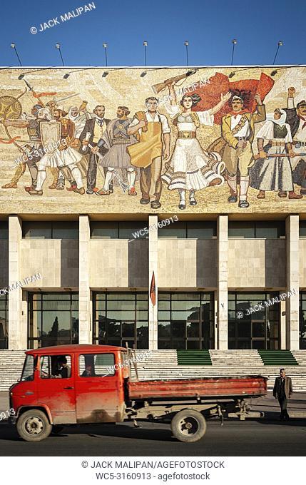 National Historical Museum landmark and famous 'The Albanians' socialist realist mosaic mural in skanderberg square of tirana albania