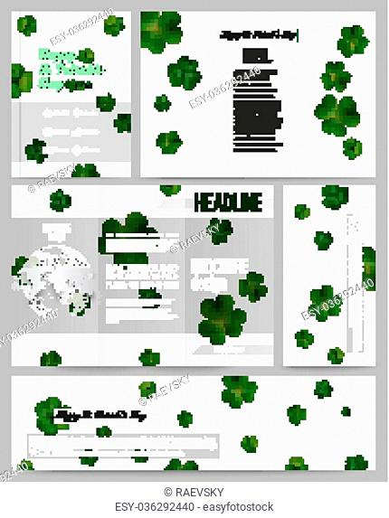 Set of business templates for presentation, brochure, flyer or booklet. St Patricks day vector background, green clovers on white