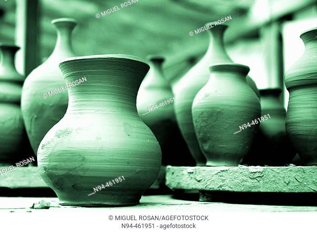Valencian traditional pottery in a workshop. Lliria. Valencia province, Valencian Comunity, Spain