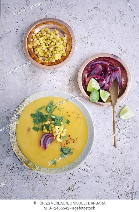 Sweet potato soup with limes and red onions