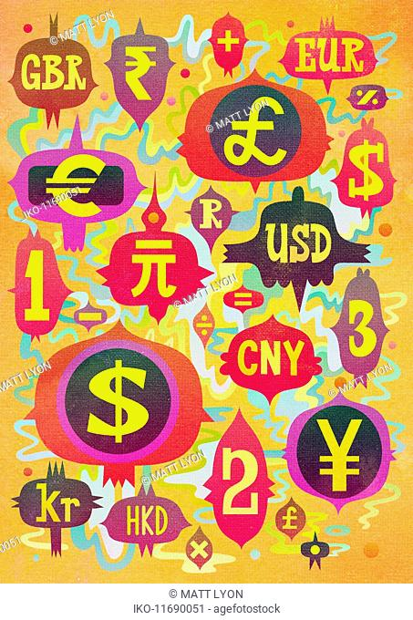 Abstract pattern of global currency symbols and abbreviations
