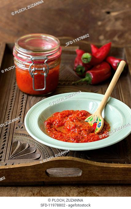 Turkish-style red pepper sauce with chilli peppers