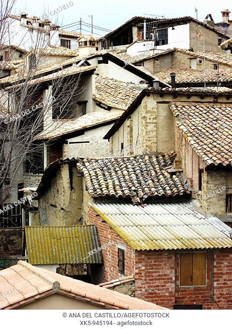 Rubielos de Mora rooftops, Teruel province, Aragon, Spain