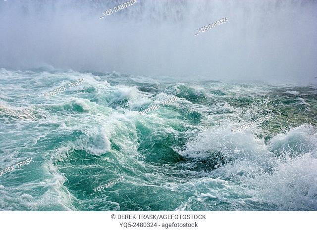 North America, Canada, Ontario, Niagara Falls, turbulent water at base of Horseshoe Falls, Niagara River