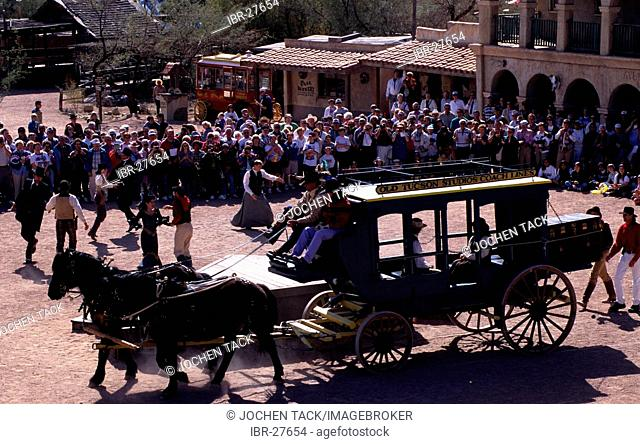 USA, United States of America, Arizona: Wild West theme park, Old Tucson Studios, former movie scene. Today western stunt show for tourists