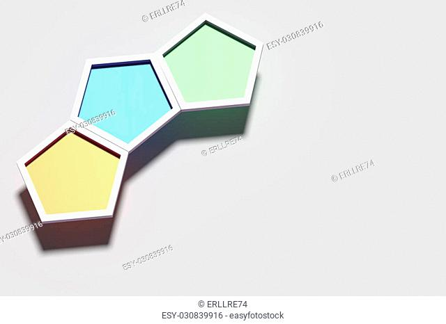 3d rendering of three colorful three-dimensional hexagons on white background