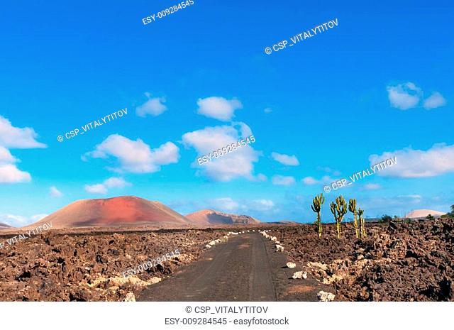 Lanzarote island volcanic ash road