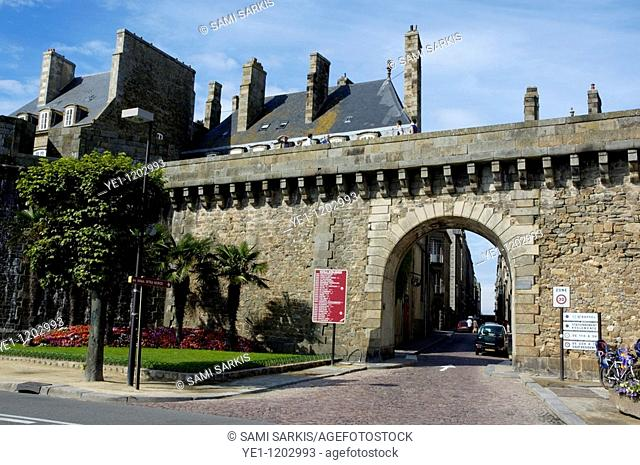 Gate and Ramparts bordering the walled city, Saint-Malo, Brittany, France