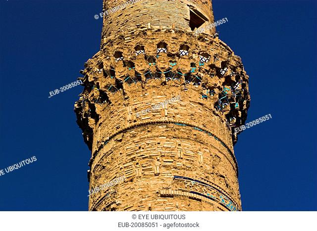 The Mousallah Complex, MinaretOne of several minarets in this complex, this one stands by Gaur Shad 's Mausoleum with a mortar hole in it
