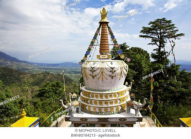 a TIBETAN STUPA on the grounds of the TSUGLAGKHANG COMPLEX which is the DALAI LAMA'S residence in exile in MCLEOD GANG, India, DHARMSALA