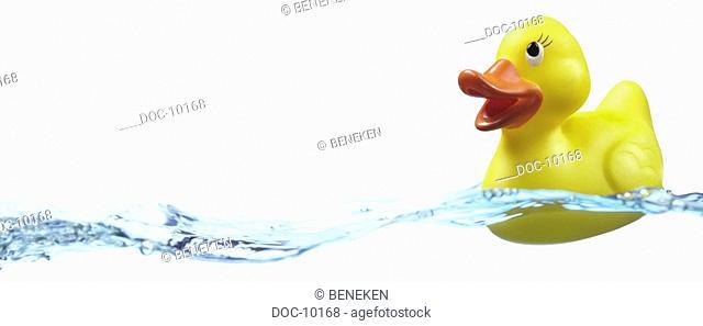 Yellow bathing-duck swims onto waves before white ground