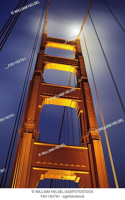 Golden Gate bridge and moon. San Francisco. California. USA