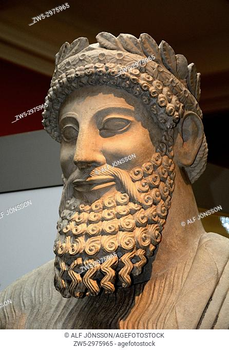 Statue of a bearded man by Cyprus, 500th b. c. on British Museum, London, UK