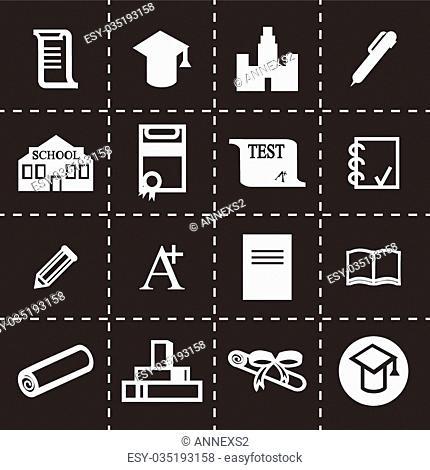 Vector Education icon set on black background