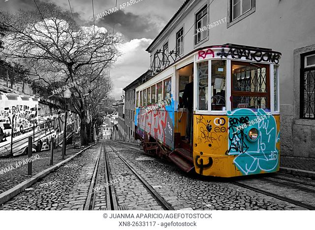 Photograph in black and white mixed with colour of the Funicular in Lisbon, Portugal, Europe