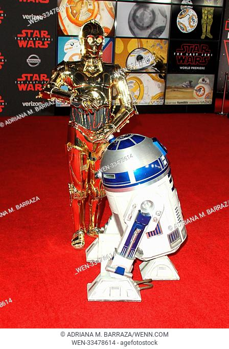 """Star Wars: The Last Jedi"" Premiere held at the Shrine Auditorium in Los Angeles, California. Featuring: R2-D2, C-3PO Where: Los Angeles, California"