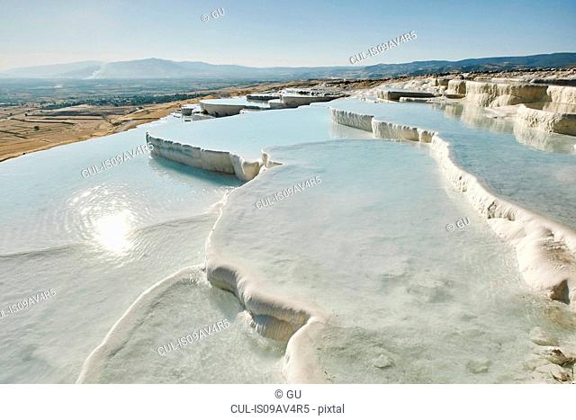 White hot spring terraces, Pamukkale, Anatolia, Turkey