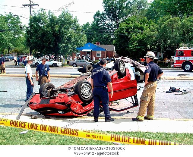 Police and Firefighters inspect a serious accident where several people were seriously injured in Adelphi, Maryland