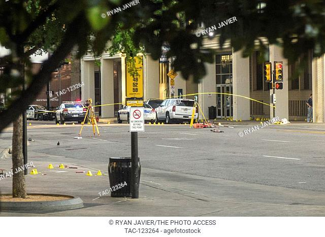 Crime scene at the intersection of N. Lamar Street and Elm Street in Dallas, TX