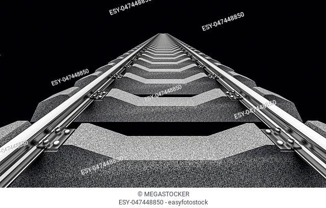3D Illustration of a straight railroad track on dark background