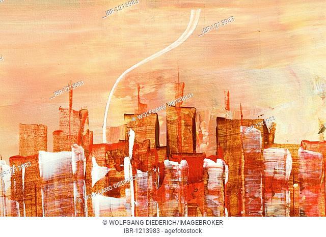 Skyline of Manhattan, New York, acrylic painting, artist Gerhard Kraus, Kriftel, Germany