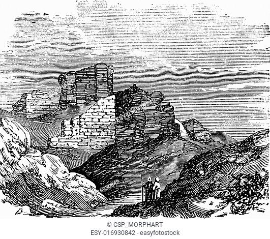 Ruins of the Main Palace in Babylonia vintage engraving