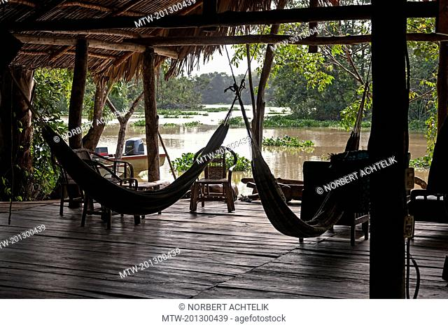 Hammocks in tourist resort, Orinoco Delta, Venezuela