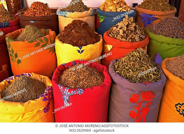 Herbs and Spices, Medina, Marrakech, Souk, UNESCO World Heritage Site, Morocco, Maghreb, North Africa