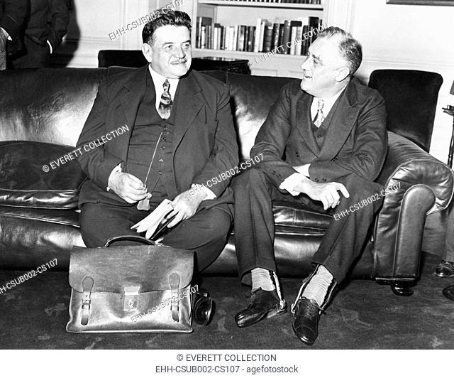 Edouard Herriot ((left), former French Prime Minister with President Franklin Roosevelt. White House, Washington, D.C., April 28, 1933