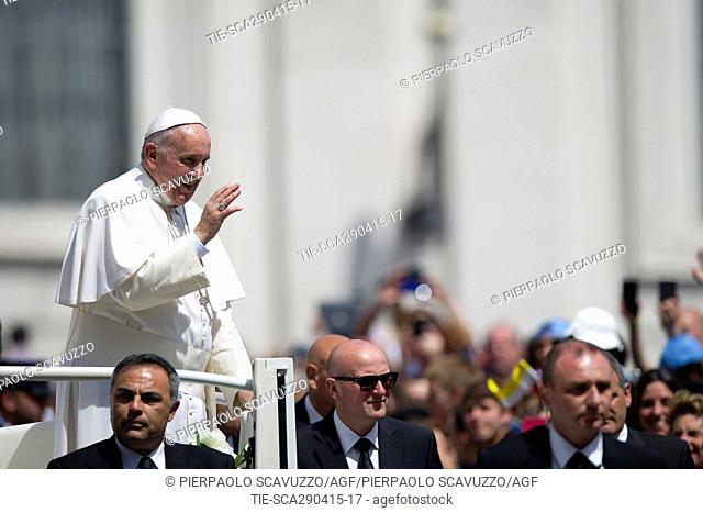 Pope Francis during the General audience, St.Peter s Square Square, Vatican, Rome, ITALY-29-04-2015  Journalistic use only